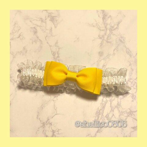 【ミニリボン : yellow】リボンチョーカー/犬/首輪/キッズ