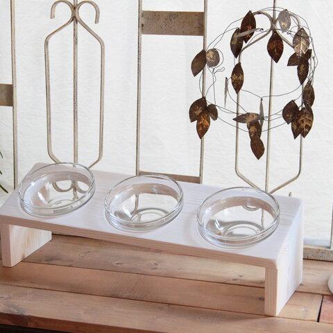 北欧ナチュラルホワイト ななめ厚板ペットフードテーブル トリプルガラスフードボウル*ペット用スタンド*
