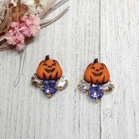 【ピアス/イヤリング】ボタンアクセサリー Etoileシリーズ かぼちゃ ハロウィン