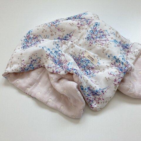 8重ガーゼケット ドライフラワー ホワイト ハンドメイド プレゼント 出産祝い handmade