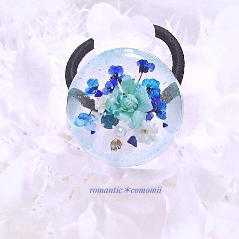 【送料無料】~涼花 ~   天然石入り レジンヘアゴム