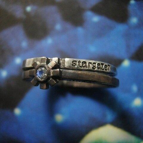 天文学者と小さな星 ( 星空 宇宙 数字 歯車 シルバー 925 リング 指輪 重ね付け ペア メッセージ 刻印 名入れ 送料無料 )