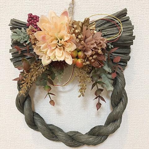 【セール】No.5 お花と松ぼっくり しめ縄リース(カーキー)