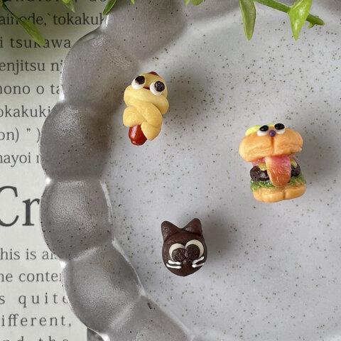 ハロウィンおばけバーガー、くろねこちゃんパン、ミイラパンのマグネットセット