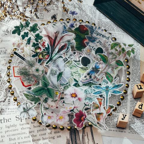 贅沢♥美しい花 植物 キノコ 色々のTNフレークシール a