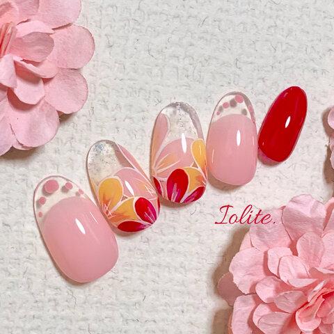 彩 .06   ピンク 花赤 透明 クリアフレンチ春春ネイル春夏 夏夏ネイル ネイルチップネイル チップ ジェル つけ爪 付け爪