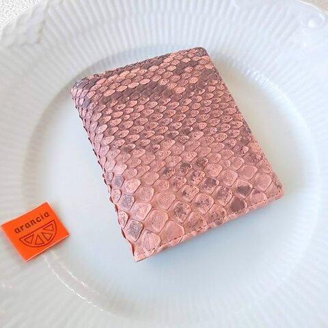 折財布(マット蛇)サーモンピンク