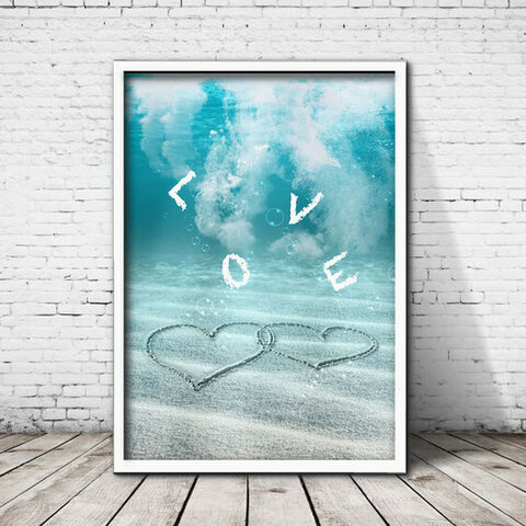 アートポスター506 ハート LOVE☆ 額縁付き インテリアポスター