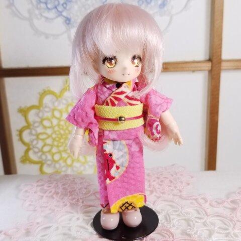 【オビツ11 服】浴衣・ピンク×黄色