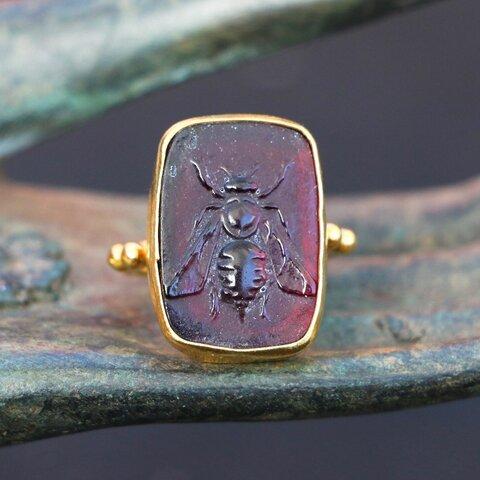 古代スタイル*ガラス印章 蜂 指輪*9号 GP
