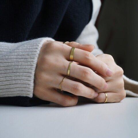 [フラットリング]ゴールド 重ね付け シンプル  R382B12 指輪 真鍮 メンズ レディース