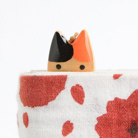 木製ネコしおり  オレンジ・黒(ブックマーカー)