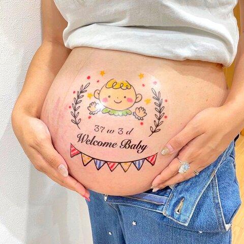 マタニティタトゥーシール マタニティペイントシール ガーランド 赤ちゃん