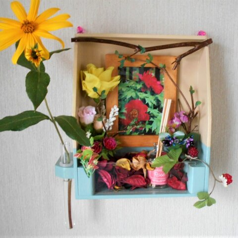 アロマ置き ジオラマ風のバラ園 アロマ剤置き 一輪挿し 花飾りアレンジ