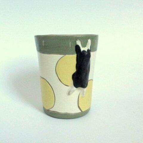 中林由香梨 しがみつく猫のフリーカップ*モスグリーンB