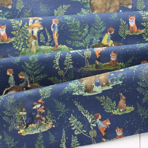 【140cm×50cm】ドイツ輸入生地 acufactum819 キノコ、フクロウ、ウサギ、キツネ森の魔法の生地グリーン