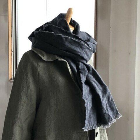 [ 冬支度SALE]ベルギーリネン手染め起毛リネン ハーフサイズ W47