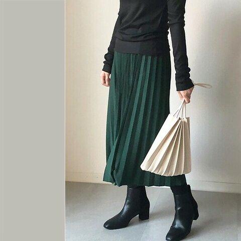 送料0 シワにならないペアスキン生地のプリーツスカート 高見えスカート【ペアプリ−ツGR】