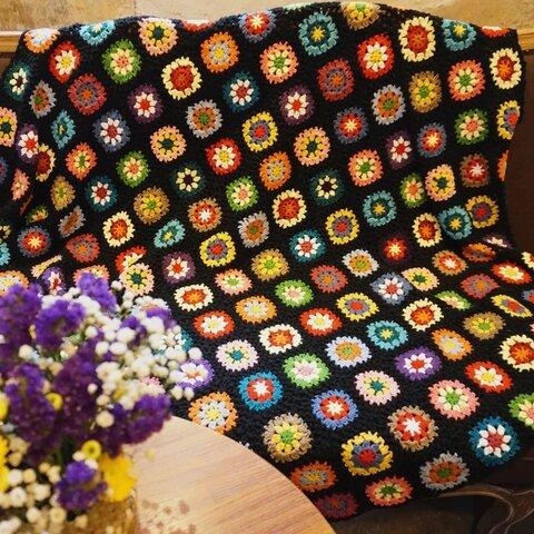 ハンドメイド クロシェ 鍵編み 花 ニット ソファーカバー 毛布 手編みアジアン エスニック モチーフ ブランケット