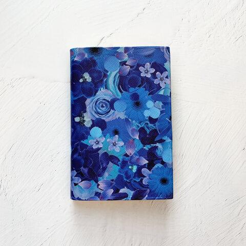 BLUE FLOWER ブックカバー・ほぼ日手帳カバー / 花柄 母子手帳カバー お薬手帳カバー 文庫本