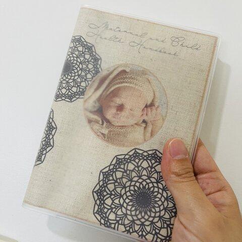 手形アート母子手帳カバー*クリアケース付*綿と麻のリネンでナチュラル