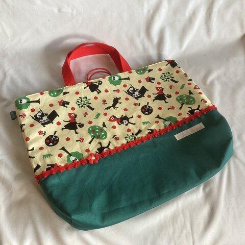 【床につかない!!】入園入学レッスンバッグ手提げ絵本袋リバーシブル68赤ずきんグリム童話