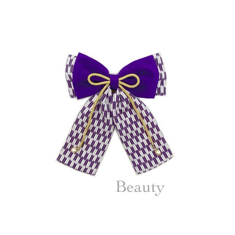 はいからさんリボン、ハイカラさんリボン、卒業式の髪飾り、二越ちりめん矢絣(紫)