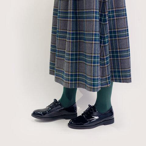 グレーでタータンを楽しむ ポリレーヨン タータンチェック グレー 緑 ロングスカート ●DORRA●