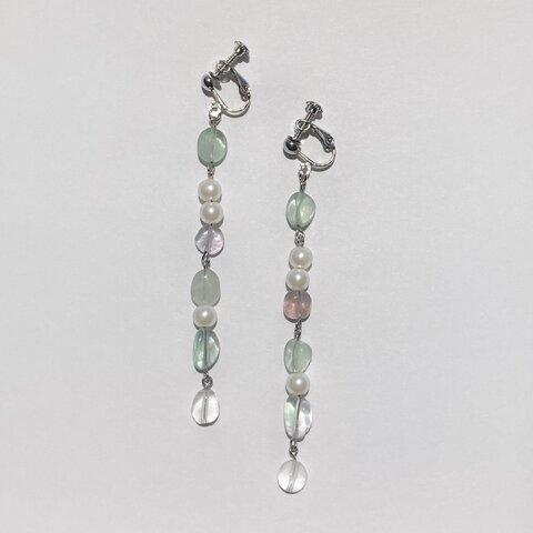 フローライト 天然石 ピアス イヤリング【fluorite pearl(mint green)pierce&earring】パールアクセサリー ミントグリーン