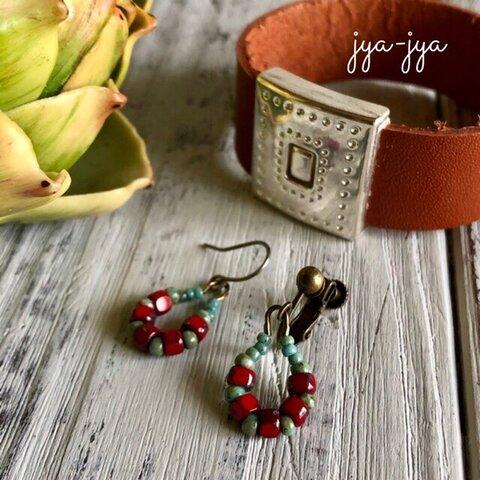 beads earrings - Red foop