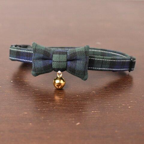 イギリス タータン・チェック 緑×紺【蝶ネクタイ】*猫(&小型犬)首輪