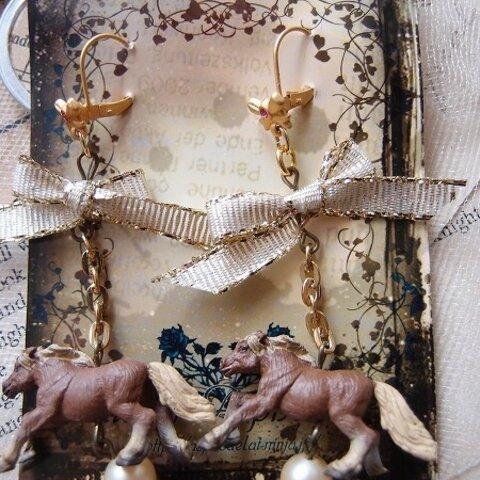 リアルな馬のゆらゆらピアス ペア