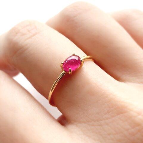 再入荷 モザンビーク産 宝石質 ルビー 4×6オーバル 爪留めリング 指輪 silver925  18kgp