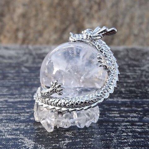 龍と天然石 銀龍/水晶◆水晶玉