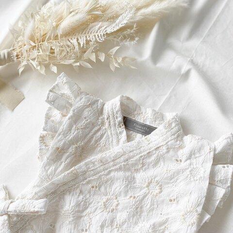《70-80》刺繍生地ベビーフリル甚平ロンパース(ミルキーホワイト)  夏祭り 浴衣 ベビー甚平