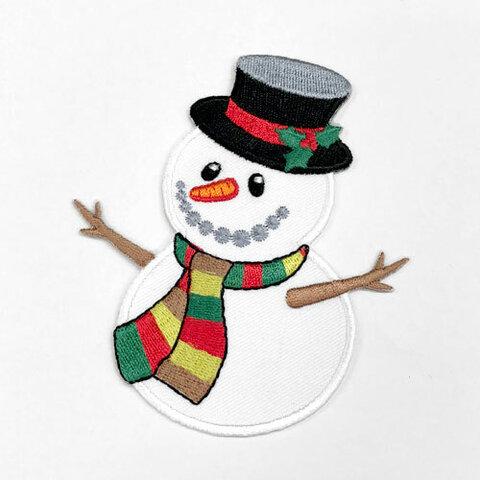 おめかし雪だるま 【大きい】アップリケ (PM-Snowman)