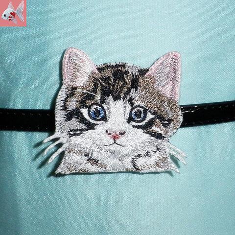 ◆猫の刺繍帯留め飾り③