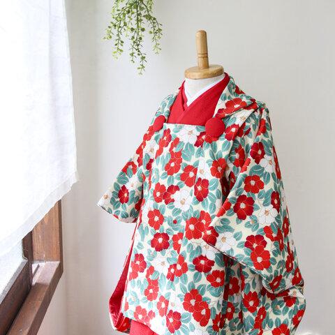 ◆七五三着物/レトロつばき被布衿コートセット/90-110【受注生産】