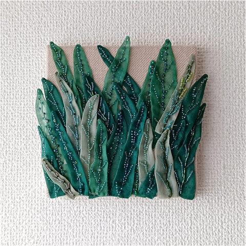 リーフグリーンのビーズ刺繍アップリケ―ファブリックパネル―B