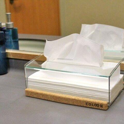 「高級感のあるコルクとアクリルのクリスタルティッシュケース」ティッシュボックス 透明 クリア ガラス色