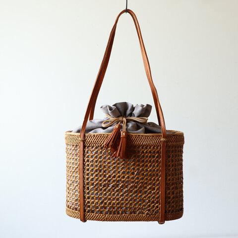 ⁂anvai「手編む鞄」アタ かご バッグ トートバッグ 肩掛け 巾着袋&タッセル 着物 浴衣 N01B