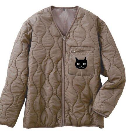 ネコ柄 中綿 撥水 キルティングジャケット 男女兼用サイズ