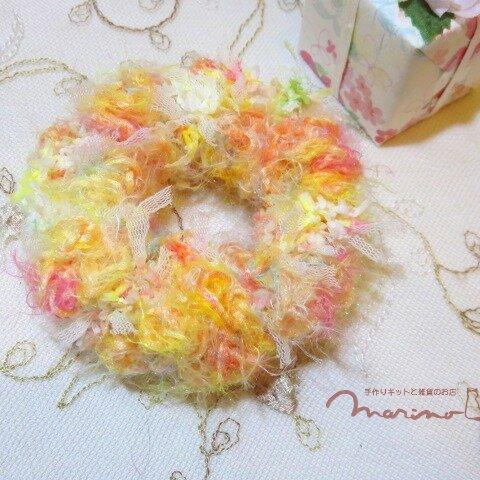 手染め糸のドーナツみたいなかわいいシュシュ [chu1014OR]