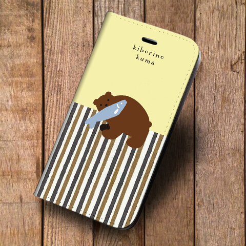 iPhone 専用 フラップ無し手帳型ケース★木彫りの熊