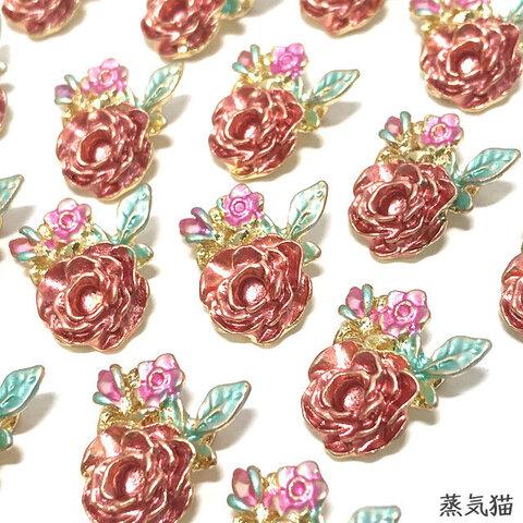 アンティークローズ 薔薇チャーム 6個【薔薇の花パーツ】