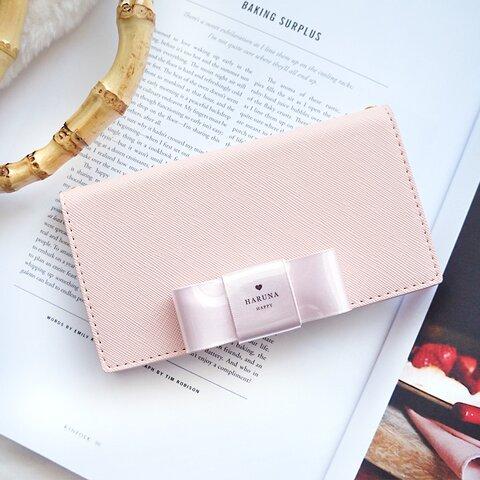 コーティング名入れリボン手帳型スマホケース(横/ライトピンク)iPhone13シリーズ追加