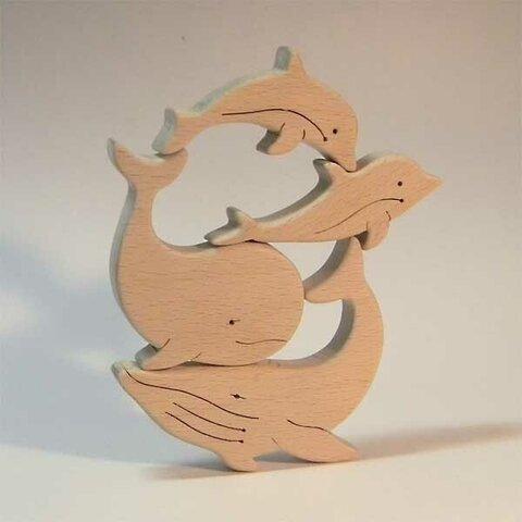 木のパズル くじらとイルカ
