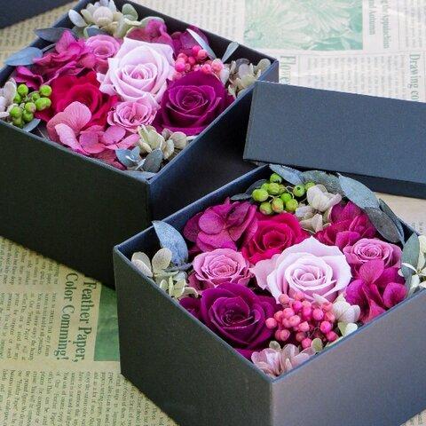【新作】秋色 大人ピンクのフラワーボックス ・フラワーボックス ~ カシスピンク ~お花とおそろい色リボン無料ラッピング