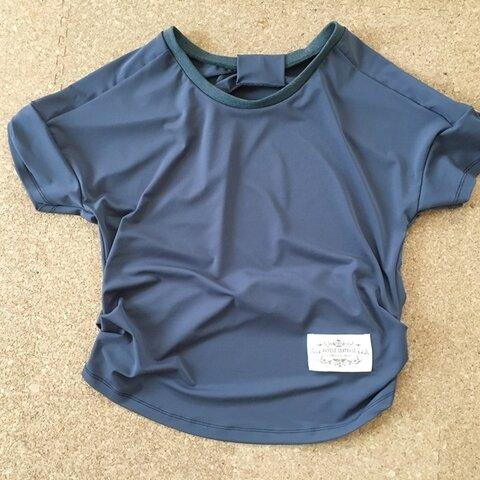 【処分価格】Sサイズ*バックリボンゆるTシャツ*濃いグレー
