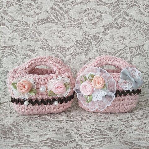 ♪手編みミニチュアバッグ2点セット ピンク レース リボン バラ